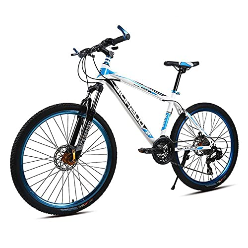 SHTST Bicicleta de montaña de 26 pulgadas-21 - Bicicleta de Velocidad Variable con Freno de Doble Disco, Bicicleta de Cuadro Engrosado de Acero con Alto Contenido de Carbono (Color : Blue)