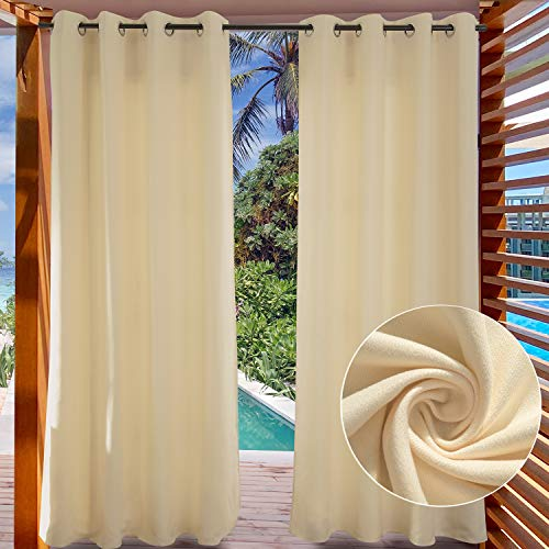 LIFONDER Blackout Pergola Outdoor Curtain - Indoor Patio Privacy Screen Curtain Thermal Insulated Shade Blind Porch Drape for Deck Decor with Grommet Top, Cream Beige, 52' Width by 108' Length,1 Pack