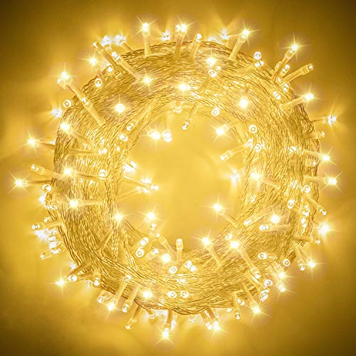 XUNXMAS 109ft 300 LED String Lights Indoor Outdoor, Super Bright Warm White Christmas Lights with 8 Lighting Modes, Extendable Waterproof Fairy Lights for Bedroom Patio Party Christmas Tree Decor