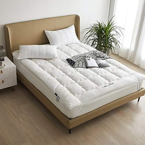 KMatratze Cojín de colchón, Topper de colchón de algodón, colchón Acolchado, colchón Suave Topper Protector, colchón japonés de futón (Color : White, Size : 200x220cm)