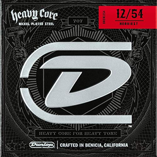 Dunlop DHCN1254 Heavy Core Nickel Wound Guitar Strings, Heaviest, .012–.054, 6 Strings/Set