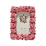 Pink Rose Vintage Picture Frame 4x6 Inch Antique Tabletop Elegant Photo Frame , Flower Textured Hand-Crafted Resin Picture Frame for Home Decor