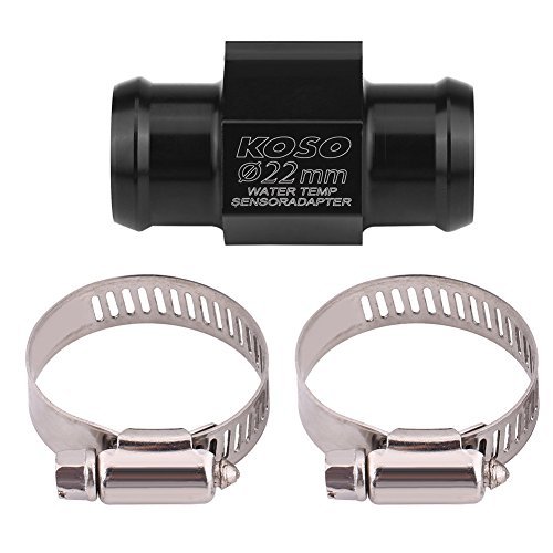 Motorrad Temperatursensor Adapter, Wassertemperatur Temperatur Joint Rohr Sensor Gauge Kühlerschlauch Adapter (SCHWARZ)(22mm)