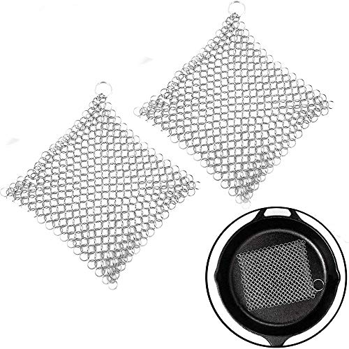 jiyuan 2 Pieces Cast Iron Chainmail Scrubber, Cast Iron Cleaner Stainless Steel Chainmail Scrubber, Ring Chainmail Scrubbe, for Skillets, Griddles, Pans or Woks, Multifunction Cookware