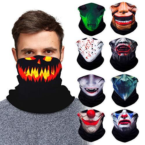 Halloween Monster Neck Gaiter Face Mask Bandana (9 Pack) - Neck Gators Face Coverings for Men & Women