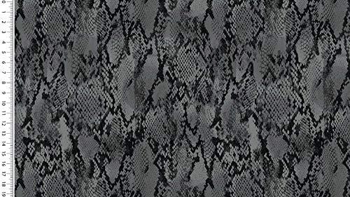 SCHLANGE PYTHON Kunstleder Meterware SCHWARZ GRAU 145cm breit Preis ab 0,50 Lfm!