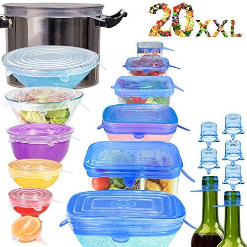 longzon 20 Piezas Tapas de Silicona Reutilizables Ecológicas, Eco Tapas Silicona Reutilizables, 7 Redondas y 6 Cuadradas de Tapas de Silicona, Sin BPA, Redondos + Rectangulares