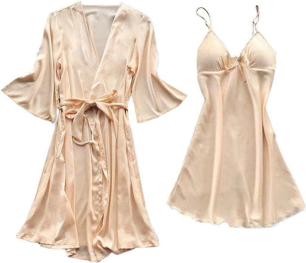 F_Gotal Clearance Womens Lingerie Sexy Satin Pajamas Set 5pcs Nightgown Temptation Chemise Underwear Teddy Sleepwear