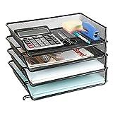 DESIGNA Bandeja de escritorio de malla de metal apilable de 2 niveles bandeja de...