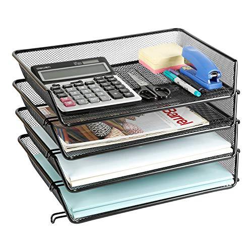 DESIGNA Briefablage Ablagefächer Stapelbar Metall Masche Papierablage Schreibtisch Organizer A4 für Zuhause Büro 4 Stück Schwarz