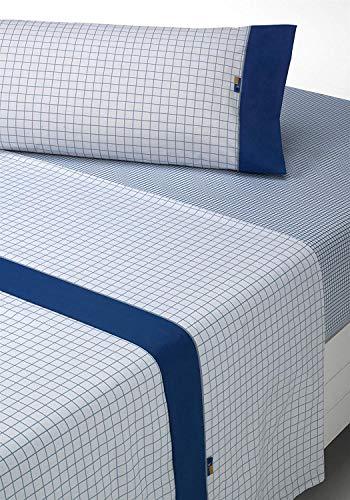 SABANALIA - Juego de sábanas Estampadas Checks (Disponible en Varios tamaños y Colores), Cama 180, Gris-Azul