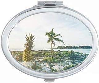 Ocean Sand Beach PineFruit Tree Sea Mirror Portable Fold Hand Makeup Double Side Glasses