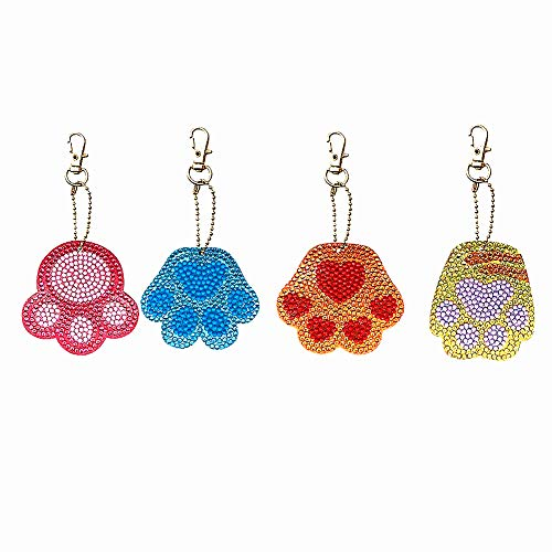 HuaCan 4 Pack DIY 5D Diamond Painting Cat Paws Keychain Round Drill Keyring Crystal Rhinestone Bag Pendant Cross Stitch Mosaic Arts Craft Paint by Number Kits for Kids Adults