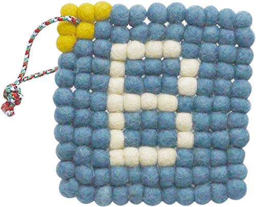 現代百貨 BERTRAND ウールコースター ブルー フェルトボール 厚みがある