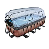 EXIT Piscina de madera de 400 x 200 x 100 cm, con cubierta y filtro de arena y bomba de calor, color marrón