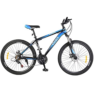 """Viribus Adult Mountain Bike with 26 Inch Wheel Derailleur Lightweight Sturdy Aluminum Frame Bicycle with Dual Disc Brakes Front Suspension Fork for Men (Blue, 26""""/21-Speed)"""