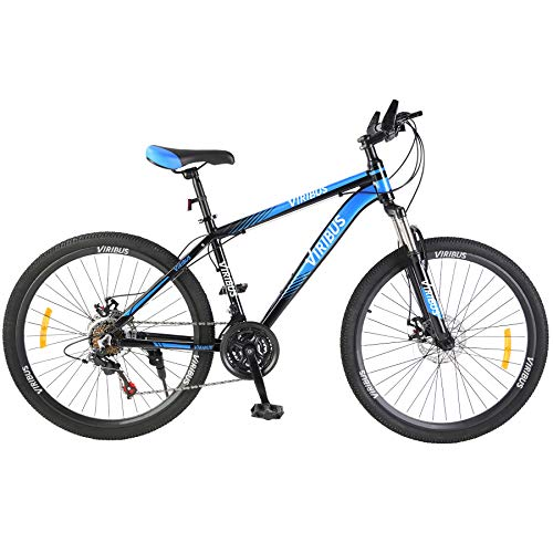 Viribus Adult Mountain Bike with 26 Inch Wheel Derailleur Lightweight Sturdy Aluminum Frame Bicycle with Dual Disc Brakes Front Suspension Fork for Men (Blue, 26