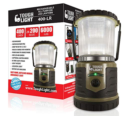 Tough Light LED Rechargeable Lantern - 200 Hours of Light Plus a Phone Charger for Hurricane, Emergency or Camping, Long Lasting Battery- Free 2 Year Warranty
