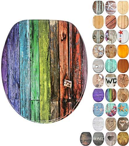 WC Sitz mit Absenkautomatik, viele schöne Holz WC Sitze zur Auswahl, hochwertige und stabile Qualität (Rainbow)