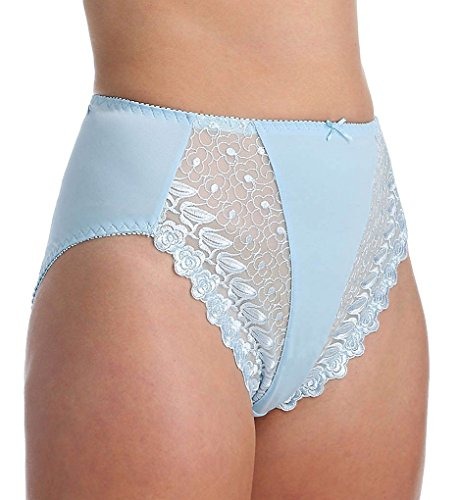 VALMONT, INC Women's Valmont Embroidered Lace and Satin Hi-Cut Brief Panty, Light Blue, 6