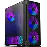 Pansonite Mesh Back Airflow ATX Mid-Tower Chassis PC Gaming Case with Tempered Glass Side Panel, E-ATX Supported, 4 RGB Fans & RGB Backplate Pre-Installed (M01-DS4-1)