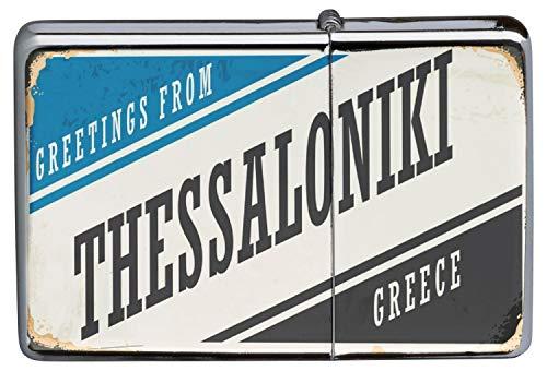 LEotiE SINCE 2004 Chrom Sturm Feuerzeug Benzinfeuerzeug aus Metall Aufladbar Winddicht für Küche Grill Zigaretten Kerzen Bedruckt Retro Metropole Thessaloniki Griechenland