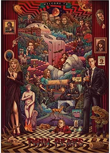XIAOPINGZI Art Toile Affiche Twin Peaks Affiche TV Show Art Peinture Drôle Fantaisie Mur Autocollant pour Café Maison Bar50 * 70 Cm De Haute Qualité Durable