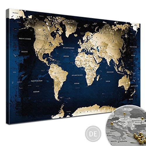 "LANA KK - Weltkarte Leinwandbild - Kork Pinnwand zum pinnen Deiner Reiseziele – ""Weltkarte Midnight"" - deutsch - Kunstdruck Globus in blau, fertig gerahmt in 100x70cm"
