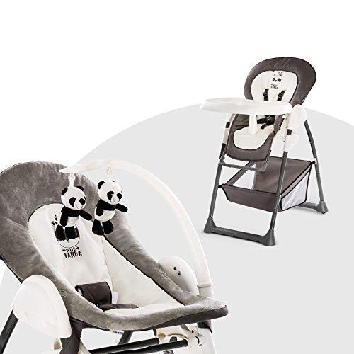 Hauck Mitwachsender Hochstuhl Sit N Relax / Neugeborenen Aufsatz ab Geburt bis 9 kg / Kinder Sitz bis 15 kg / Höhenverstellbar / Faltbar / Räder / Spielbogen / Tablett / Korb / Grau