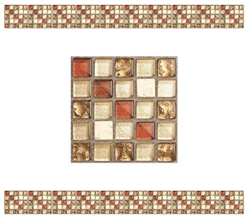 CYJZHEU Mosaik Fliesenaufkleber, 20 Stück Fliesenfolie Selbstklebend Küche Fliesenaufkleber Wasserdicht PVC-Material für Badezimmer Wohnzimmer Art Wandbild Wandaufkleber Home Decor 10x10cm