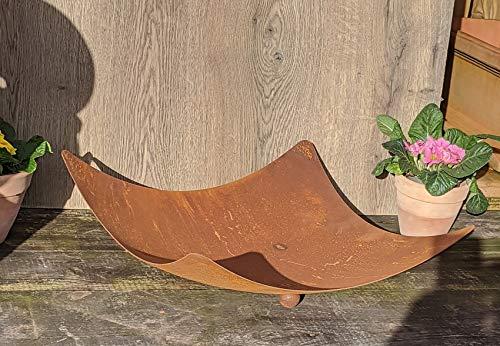 terracotta-toepfe-de Schale ca. 44 cm, gewölbt !! besonders dick !! 2mm !! mit Kugelfüßen aus Metall in Edelrost Rost Eisen Deko Garten Feuerschale Pflanzschale