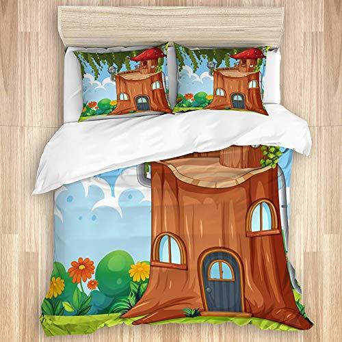 HARXISE Bettwäsche - Bettwäscheset,Verzaubertes Baumstammhaus,Multicolor Superfine Fiber Bettbezug Kissenbezug Set