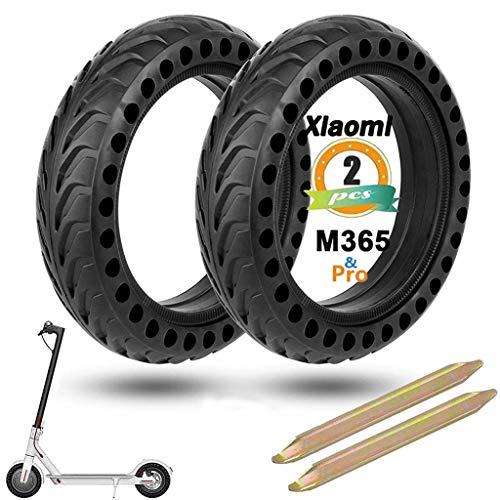 MIHUNTER Pneu Plein pour Xiaomi m365/M365 Pro Trottinette Electrique, Xiaomi Scooter électrique Pneu Solide 8,5 Pouces Roue Anti Crevaison 8 1/2 Roue avec Leviers, Avant/Arrière (2 PC)