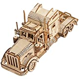 3D Wooden Puzzle Long Truck - Wooden Puzzles for Adults - DIY Mechanical Model Building Kits, Wooden Craft Decoration Ornaments, Teen Educational STEM, Gift for Friend, Sister, Age 14+