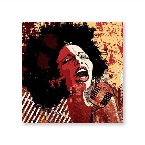 Breeze Leinwand Poster hängen Malerei Wandbild, 42 * 60cm, amerikanische Schwarze Sänger Jazz Illustrator Poster und Musik-Reproduktion ohne Rahmen