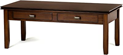 Rectangular Couch Table Coffee Sofa Brown Wood Drawers TV Living Room Centerpiece Stand Indoor & eBook by Easy&FunDeals