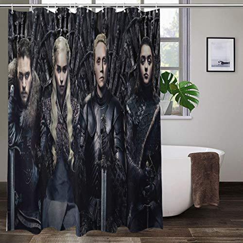 Juego de cortinas de ducha de Juego de Tronos, diseño colorido y brillante, impermeable, con 12 ganchos, 167,6 x 182,8 cm