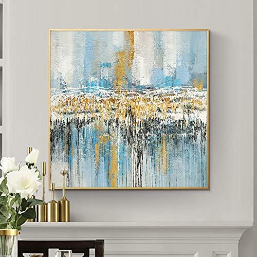 wZUN Pintura al óleo Abstracta Colorido Paisaje Arte Imagen decoración del hogar Pintura Abstracta sobre Lienzo 60x60 Sin Marco