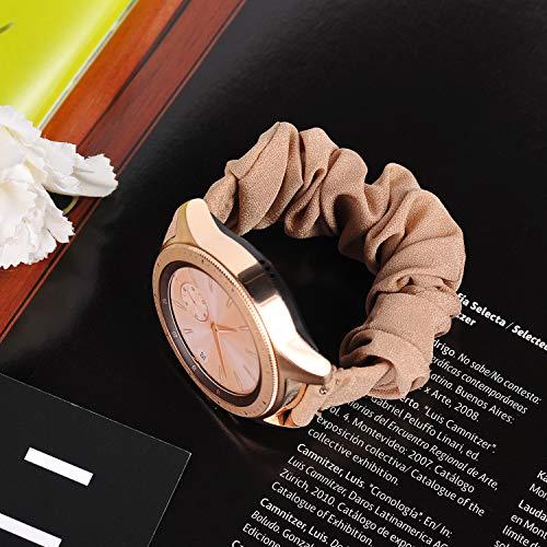 Ownaco Kompatibel mit Samsung Galaxy Watch3 41mm Armband Scrunchies Beige Stoff Weiches Muster Bedrucktes Gewebe Ersatzarmbänder Frauen Elastische Scrunchy Bänder für Active2 40mm 44mm,Klein