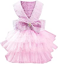 Glumes Puppy Dress, Hot Sale, Bubble Skirt Stripe Lace Bow Princess Dresses for Dog Chihuahua Clothes Lace Print Princess Skirt Dog Dress Tutu Skirt for Summer Spring