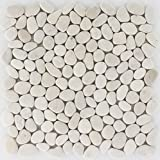 Mosaico de piedra natural, azulejos de color blanco y crema, piedras de río para pared, baño, cocina, 10 alfombrillas | ES-47628_f