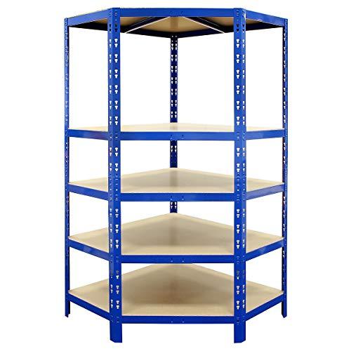 Certeo Schwerlastregal | Eckelement | HxBxT 1800 x 900 x 450 mm | Blau | Kellerregal Metallregal Garagenregal Lagerregal Werkstattregal