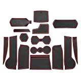 CDEFG Custom Fit Cup, Door and Center Console Accessories for 2018 2019 Tiguan Allspace LWB with 7-Seat, Car Slot Mat Gate Cushion Cup Coaster Pad Not-Slip, 15PCS (Red Trim)