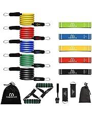 MENNYO Fitnessband, weerstandsbanden, 17 stuks, gymnastiekband met 5 weerstandsbanden, 5 weerstandsbanden, 2 handgrepen, 1 deuranker, 2 voetlussen, 2 draagtassen voor spieropbouw, yoga, gymnastiek