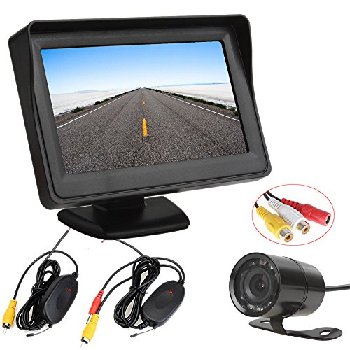 PolarLander 4.3 Pouces TFT LCD Vue Arrière de Voiture Moniteur Version Nuit Parking Caméra de Recul 2 en 1 Caméra de Recul Moniteur