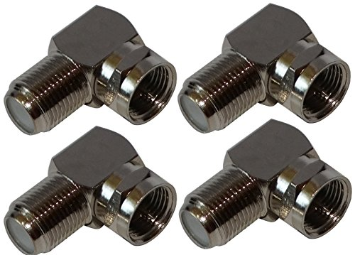 Aerzetix: 4x Connettori per presa, adattatore spina F ad angolo 90°, maschio-femmina, Cavo coassiale TV tele Satellite Antenna