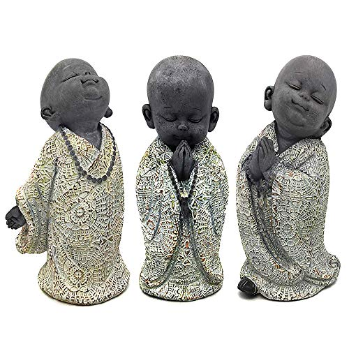RM E-Commerce Buddha Figuren Garten, kleine Mönche 3er Set, Deko Statuen 13 cm, Feng Shui Dekofiguren, Gartendeko Skulpturen