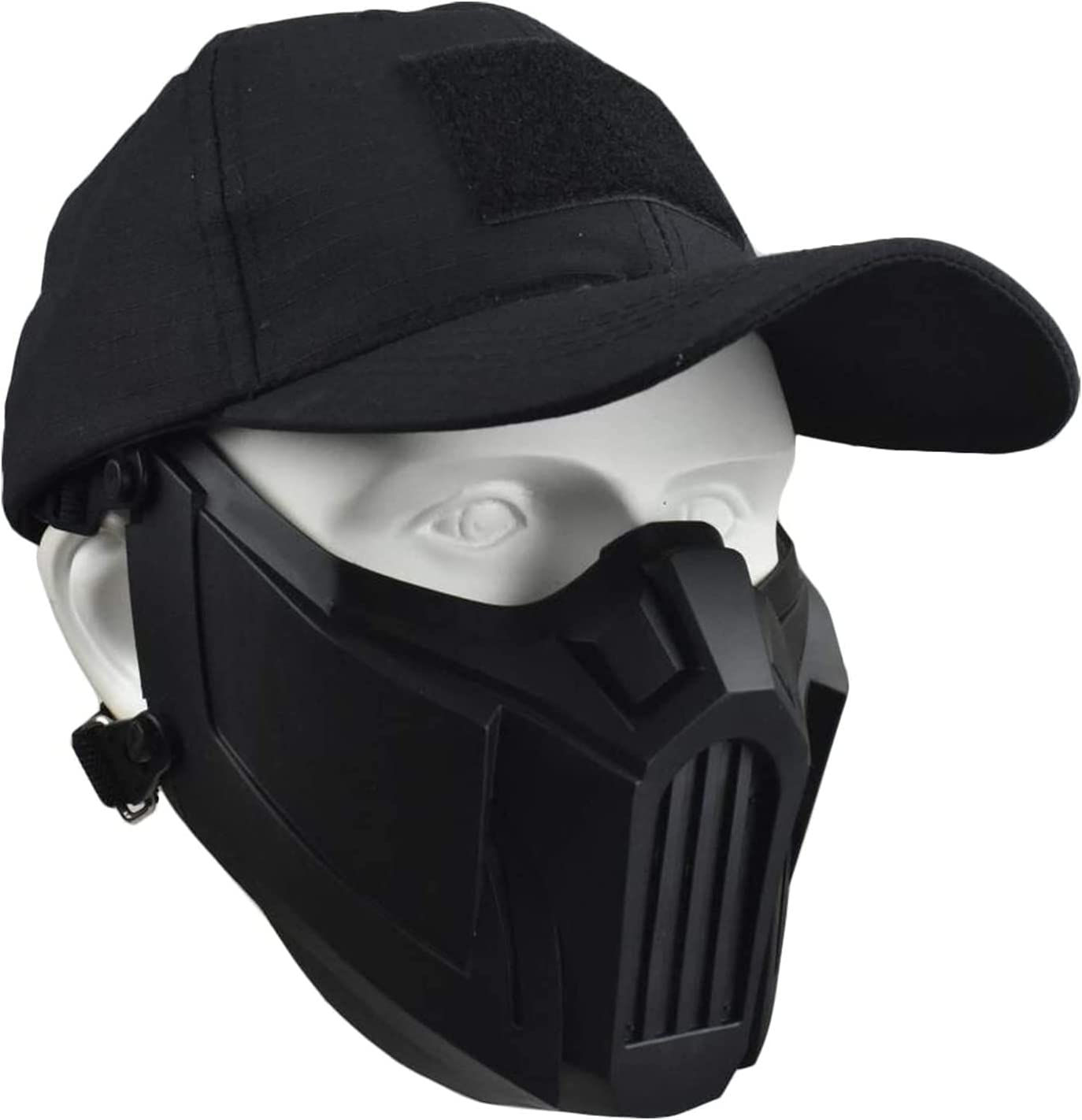 XBYN Mascarilla de Media Cara - Máscara de Malla de Airsoft con protección contra el oídos y Tapa de béisbol Ajustable para Airsoft/Paintball/BB Gun/CS Juego/Caza/Disparos (Color : Black A)