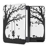 kwmobile Carcasa Compatible con Amazon Kindle Paperwhite - Funda para Libro electrónico con Solapa - Niña columpiándose