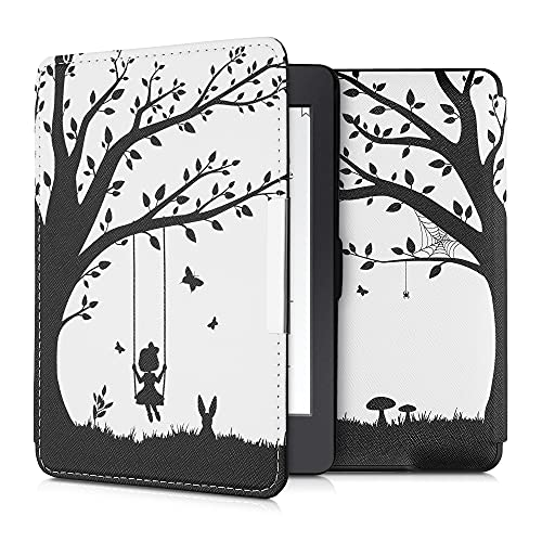 kwmobile Case Compatible with Amazon Kindle Paperwhite - Case e-Reader Cover - Girl Tree Swing Black/White